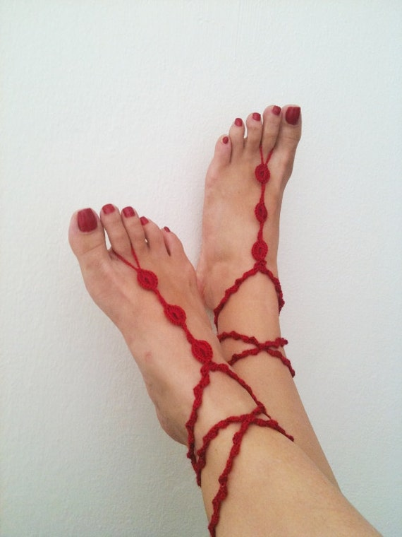 Red   Barefoot Sandals, Nude shoes, Foot jewelry, Wedding, Victorian Lace, Sexy, Lolita, Yoga, Anklet