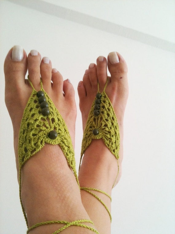 Green Barefoot Sandals, Nude shoes, Foot jewelry, Wedding, Victorian Lace, Sexy, Lolita, Yoga, Anklet