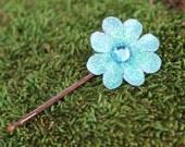 Glittered Mint Mini Daisy Bobby Pin- Handmade Floral Headpiece