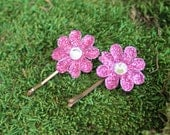 Two Hot Pink Daisy Bobby Pins- Handmade Floral Headpiece