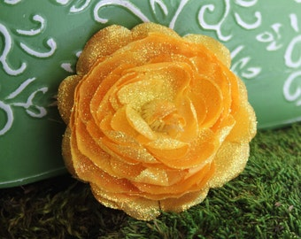 Glittered Yellow Ranunculus Alligator Hair Clip- Handmade Floral Headpiece