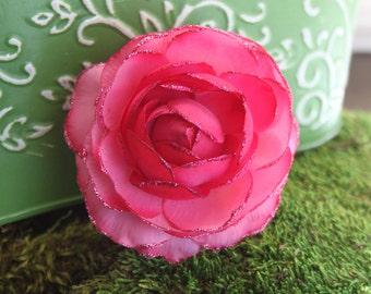 Glittered Large Hot Pink Ranunculus Alligator Hair Clip- Handmade Floral Headpiece