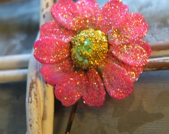Pink Daisy Bobby Pin- Handmade Floral Headpiece
