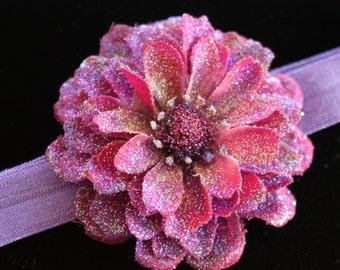 Glittered Mauve Zinnia Flower on Light Purple Elastic Baby Headband- Handmade Floral Heirloom Headpiece
