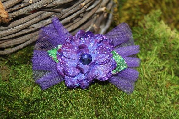 Glittered Deep Purple Larkspur Blossom with Tulle- Handmade Floral Headpiece