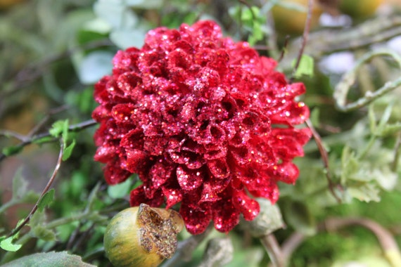 Glittered Red Pompom Mum Alligator Hair Clip- Handmade Floral Headpiece
