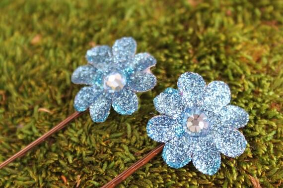 Two Blue Mini Daisy Bobby Pin - Handmade Floral Headpiece