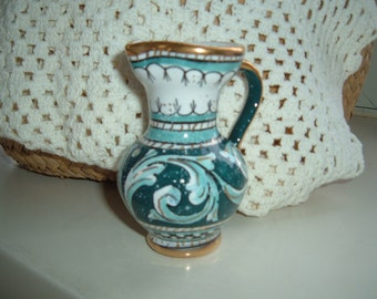 Vintage Turquoise Creamer With Gold Trim And Handle Made In Italy