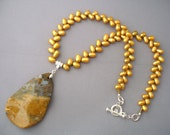 Ocean Jasper, Freshwater Pearls Necklace