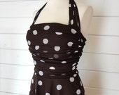 VTG 50s Pretty Woman brown polka dot halter dress- Size XS/S