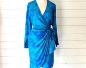 VTG 80s Aqua blue faux wrap silk printed dress- Size 4 Small