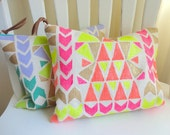 TRIBAL POUCH hand painted clutch handbag with leather- NEON pink