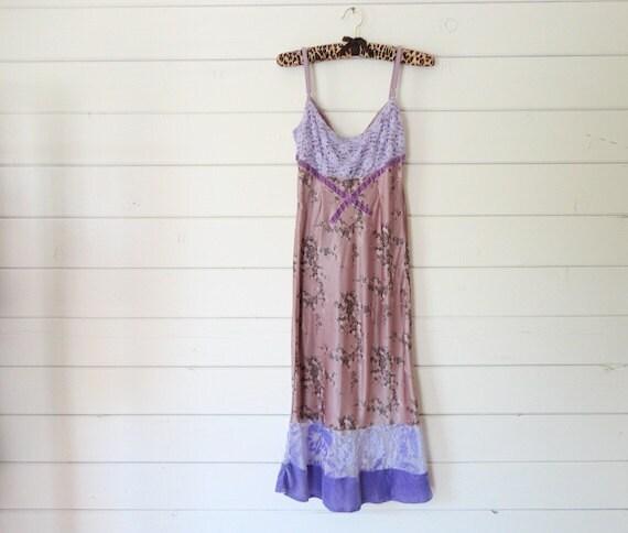 VTG 80s Mauve floral lavender lace velvet trim slip dress- Size M