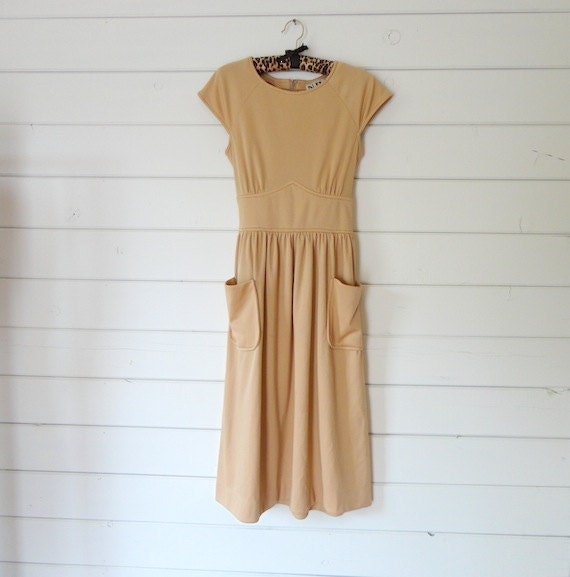 VTG 70s Nude Peach dress by N.R.1 Ned Gould- Size S