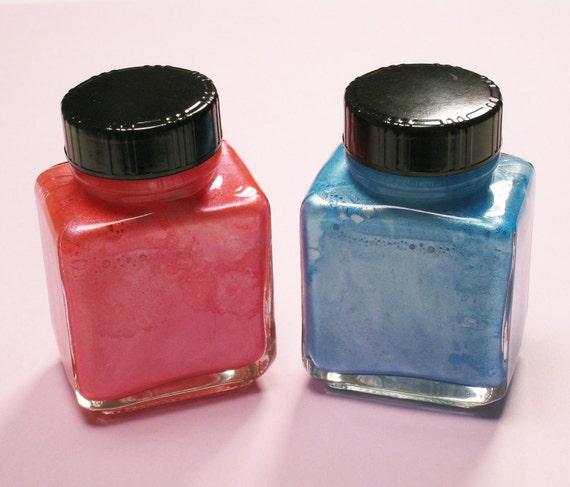 2 Metallic Pearlescent Waterproof Luma Inks, Pink and Light Blue, New in Box