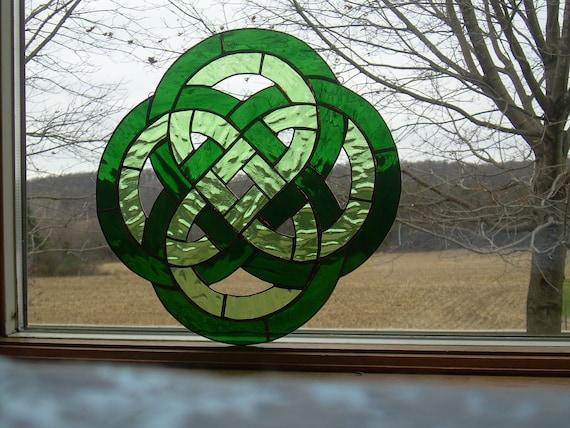 Celtic Irish Knot Stained Glass Window Panel Suncatcher