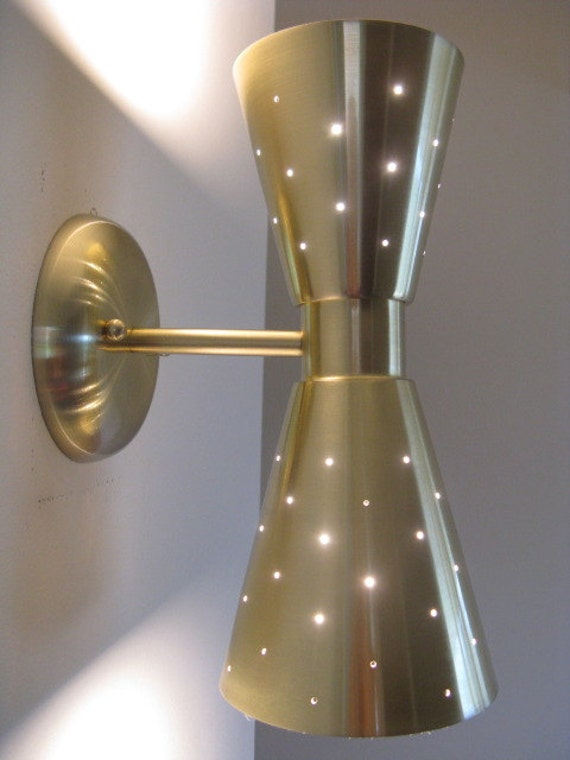 Mid Century Modern Double Cone Wall Sconce Gold Finish By