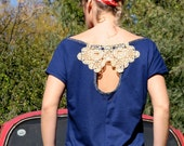 Unique Boho Chic, Subtle drop neck, Repurposed vintage crocheted doily application, Key hole back, Handmade (S/M)