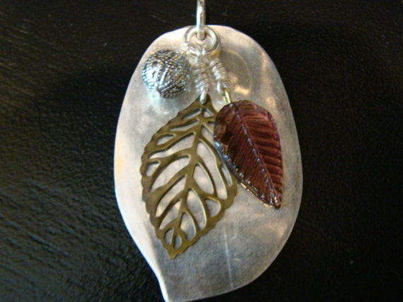 Hand-crafted flattened spoon pendant with charms