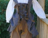 Renaissance Bodice Lace Up Pirate Wench Outfit Breeches LARP