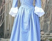 Colonial 18th Century Dress Cotton Historical Day Gown Floral