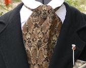 Victorian Brocade Cravat Cowboy Tie Steampunk Mens Necktie Regency Ascot Groom