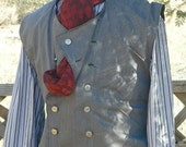 Steampunk Victorian Waistcoat Vest Suiting LARP Cowboy Stripe Design