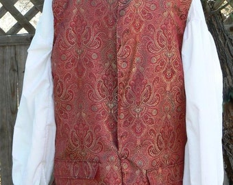 Pirate Vest Brocade Jack Sparrow LARP Historical Waistcoat Colonial Costume