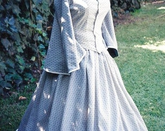 Victorian Civil War Day Dress Cotton Calico Historic Costume Pagoda Sleeves Dickins