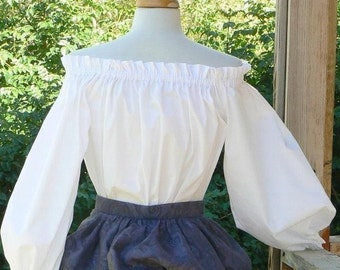 Renaissance Peasant Blouse Cotton Chemise LARP Tunic Pirate Wench Blouse