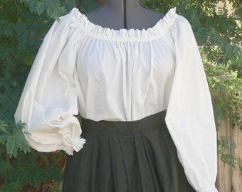 Renaissance Peasant Blouse Plus Size Chemise Pirate Wench Shirt Boho