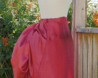 Victorian Satin Bustle Skirt Historical Costume Steampunk Adjustable Waist