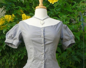 Victorian Ballgown Bodice in Cotton Bustle Dress Top Historical Costume