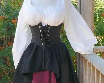 Pirate Dress Renaissance Outfit Waist Cincher Historical Costume Wench