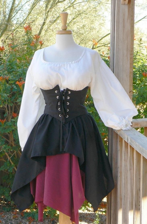 Pirate Dress Renaissance Outfit Waist Cincher Historical