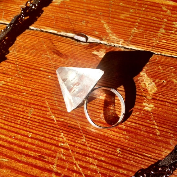 Large Crystal Point Adjustable Ring - Apophyllite Raw Stone Cocktail Ring for Intuition