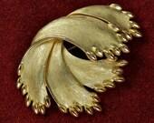 "REDUCED - 1960s Crown Trifari ""Gems of the Sea"" Brushed Goldtone Brooch"