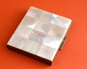 1950s Mother-of-Pearl and Brass Compact - Rectangular with Powder