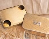 "Vintage 1950s Napier Two-Compartment Pill Box - Monogrammed ""ELH"""