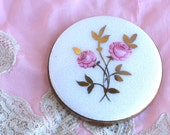 1950s Vintage Hand-Painted Rose & Goldtone Brass Compact