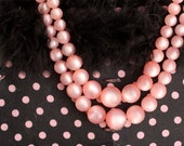 1950s Double-String Peachy Pink Bauble Necklace