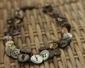 button necklace, garland of dark mother of pearl buttons