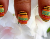 Nail Decals African lollipop colorful tribal stripes
