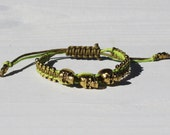 Waxed Cord Braided Skull and Metal Seed Beads Bracelet in bright green and olive green