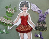 Paper Doll Set C4 - Rickie with Tutu, Dance, Angel Dress and Shoes to match.  Paper dolls are fun for all ages.