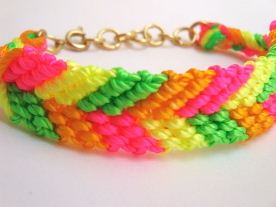 Neon Bracelet - Neon Yellow, Neon Pink and Neon Green Chevron Friendship Bracelet