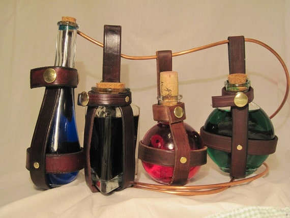 Leather Wine Carrier >> Items similar to Leather potion bottle holder - Triangle ...