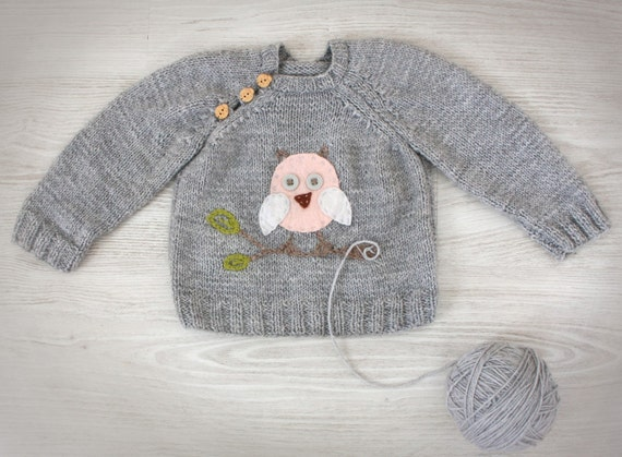 Items similar to Hand Knit Baby Sweater Grey Knit baby
