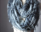 Circle scarf tie dyed butterfly print infinity scarf loop tube summer spring Grey gray fog