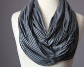 Infinity striped scarf Circle Scarf  summer spring light loop tube grey gray charcoal